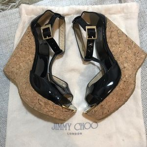 Jimmy Choo Pela T-Strap Cork Wedge Sandals